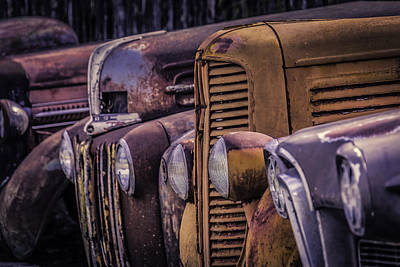 Decrepit Photograph - Old Rusty Cars by Garry Gay