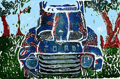 Drawing - Old Rusty Ford by Jame Hayes