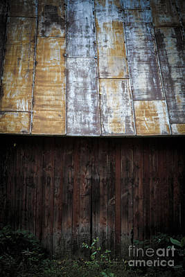 Old Rusty Tin Roof Barn Print by Edward Fielding