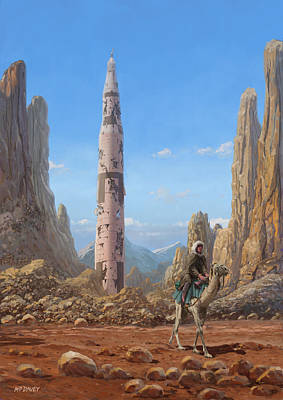 Apocalyptic Digital Art - Old Saturn V Rocket In Desert by Martin Davey