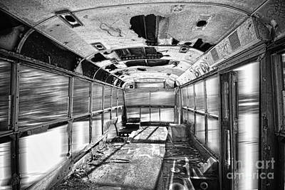 Old School Bus Photograph - Old School Bus In Motion Bw Hdr by James BO  Insogna