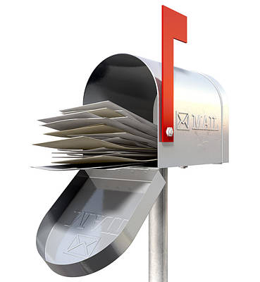 Isolated Digital Art - Old School Retro Metal Mailbox Full by Allan Swart