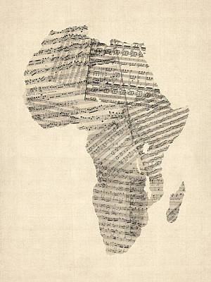 Old Sheet Music Map Of Africa Map Print by Michael Tompsett