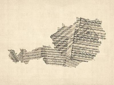 Old Sheet Music Map Of Austria Map Print by Michael Tompsett