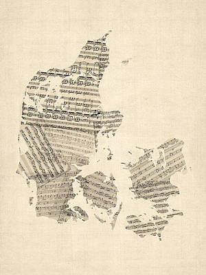 Old Sheet Music Map Of Denmark Print by Michael Tompsett