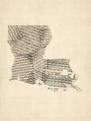 Old Sheet Music Map Of Louisiana Print by Michael Tompsett