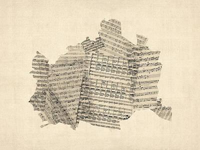 Old Sheet Music Map Of Vienna Austria Map Print by Michael Tompsett