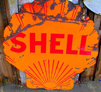 Shell Sign Photograph - Old Shell Sign by Randall Weidner