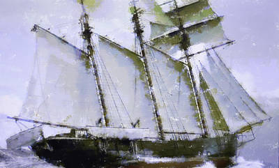 Old Ship Sailing  Original by Toppart Sweden