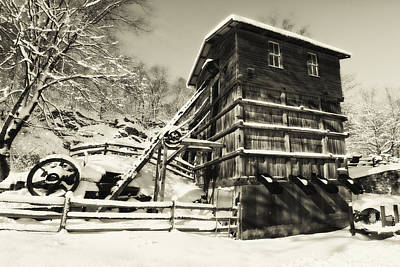 Old Snow Covered Quarry Mill Print by George Oze