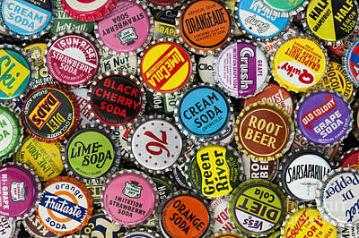 Antique Bottles Photograph - Old Soda Caps  by Tim Gainey