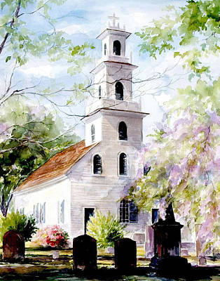 Watercolor Wisteria Painting - Old St. David's Church by Gloria Turner