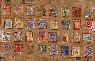Old Stamp Collection Print by Carol Leigh