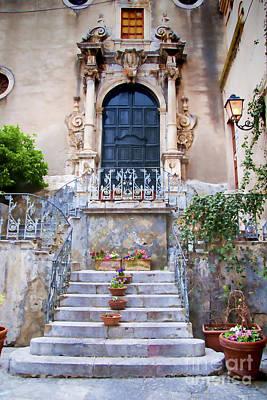 Old Steps In Taormina Sicily Print by David Smith