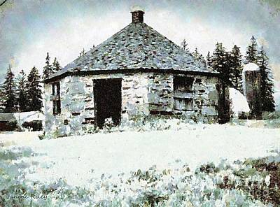 Old Stone Schoolhouse In Winter - South Canaan Print by Janine Riley