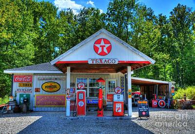 Coca Cola Sign Photograph - Old Texaco Station by Mel Steinhauer