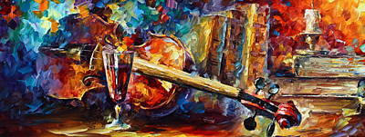 Wineglass Painting - Old Thoughts by Leonid Afremov