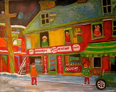 Litvack Naive Painting - Old Time Print Shop Montreal Memories by Michael Litvack