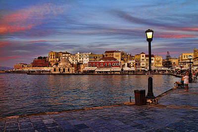 Old Town Harbour In Chania Crete Print by David Smith