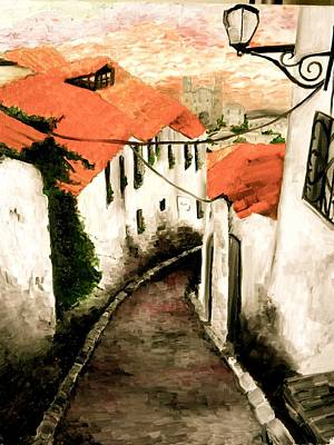 Corner Cafe Painting - Old Town In Cusco by Liz Young