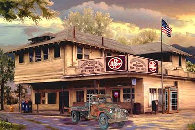 Mail Box Painting - Old Town Irvine Country Store by Ron Chambers