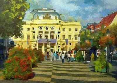 Flower Painting - Old Town Square by Jeff Kolker