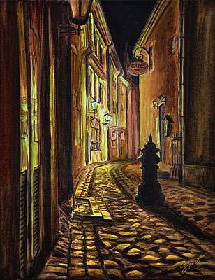 Old Town Street At Night Print by Gynt Art