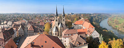 Turm Photograph - Old Town Viewed From Blue Tower, Bad by Panoramic Images