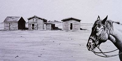 Ghost Towns Drawing - Old Trail Town by Lucy Deane