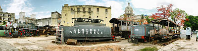 Capitol Building Photograph - Old Trains Being Restored, Havana, Cuba by Panoramic Images