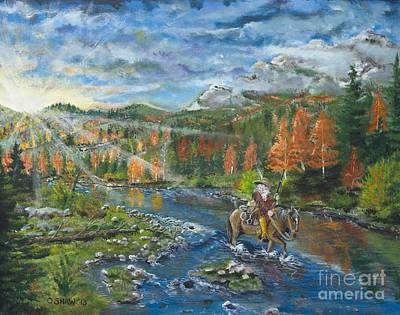 Old Trapper Walking The River Original by Ornon Shaw