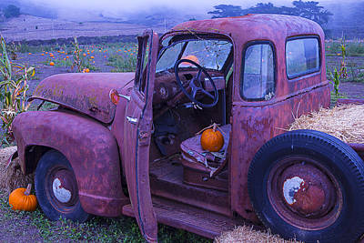 Broken Down Truck Photograph - Old Truck In Pumpkin Field by Garry Gay