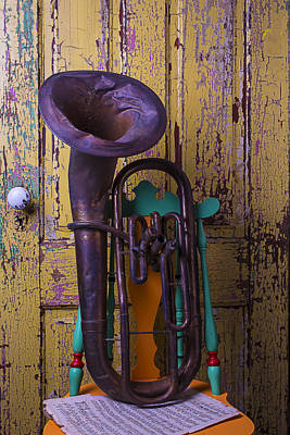 Sheet Music Photograph - Old Tuba And Yellow Door by Garry Gay