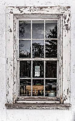 Old Twelve Pane Window With Antique Bottles Print by Edward Fielding
