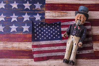 Old Uncle Sam And Flag Print by Garry Gay