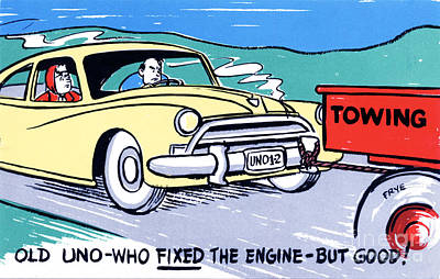 Family Car Drawing - Old Uno-who Fixed The Engine - But Good by Eldon Frye