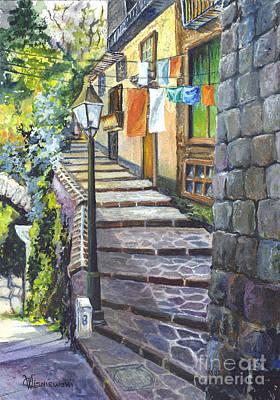 Old Village Stairs - Tuscany Italy Print by Carol Wisniewski