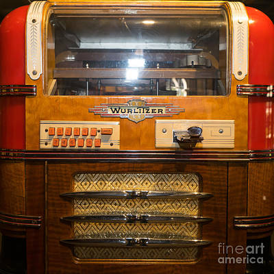 Juke Box Photograph - Old Vintage Wurlitzer Jukebox Dsc2816 Square by Wingsdomain Art and Photography