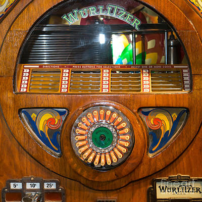 Old Machines Photograph - Old Vintage Wurlitzer Jukebox Dsc2824 Square by Wingsdomain Art and Photography