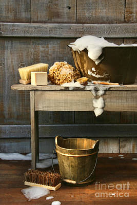 Old Wash Tub With Soap And Scrub Brushes Print by Sandra Cunningham