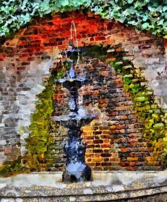 Alga Mixed Media - Old Water Fountain by Dan Sproul