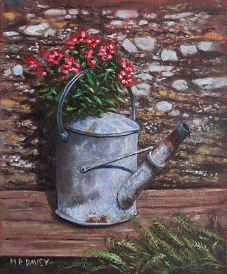 Old Watering Can With Flowers By Stone Wall Print by Martin Davey