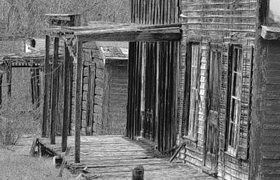 Old Barn Drawing Photograph - Old West            Pencil by Mark Eisenbeil