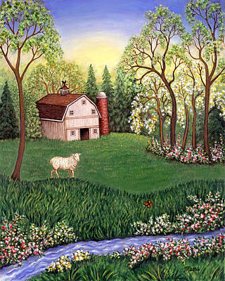 Barn Painting - Old White Barn by Linda Mears