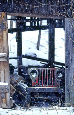 1g25 Old Willys Jeep In Old Barn Print by Ohio Stock Photography