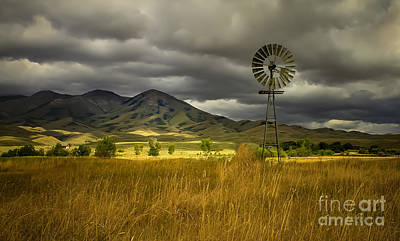 Haybales Photograph - Old Windmill by Robert Bales