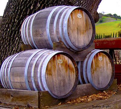 Winery Digital Art - Old Wine Barrels On An Older Truck by Barbara Snyder