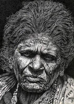 Old Woman In Sad Print by Johnson Moya