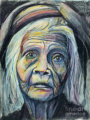 Burmese Python Painting - Old Woman by Michael  Volpicelli