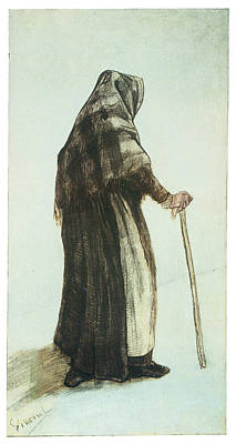 Old Woman Seen From Behind Print by Vincent van Gogh